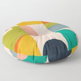 mid century abstract shapes spring I Floor Pillow