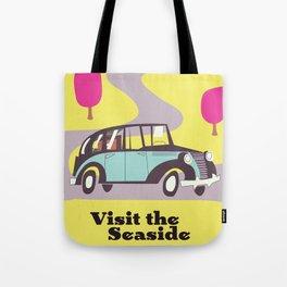 Visit the Seaside vintage car poster Tote Bag
