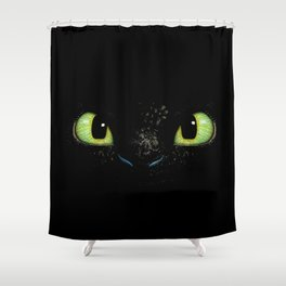 HTTYD Toothless Fiery Eyes Shower Curtain