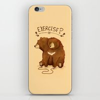 fitness iPhone & iPod Skins featuring Fitness Bear by sociopteryx