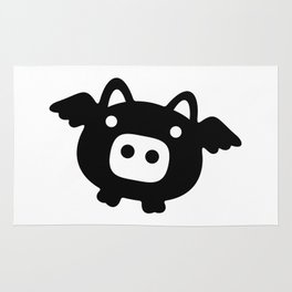 Pigs Will Fly (b&w) Rug