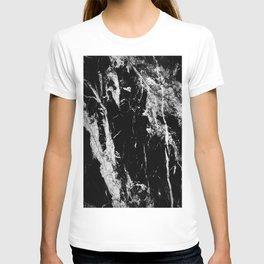 Dark marble black white stone1 T-shirt