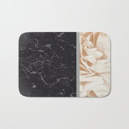 Cafe Au Lait Flower Meets Gray Black Marble #5 #decor #art #society6 Bath Mat