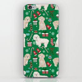 Cockapoo dog breed christmas holiday pet portrait pattern gifts iPhone Skin