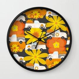 Fall Pattern Fall Pickup Truck Wall Clock