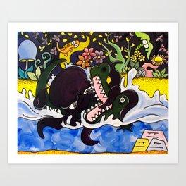 Greedy Octopus vs The Crocodile Art Print