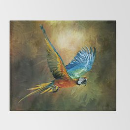 A Flash of Macaw Throw Blanket