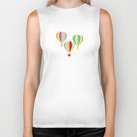 hot air balloons Biker Tanks featuring Hot Air Balloons by Jessica Draws