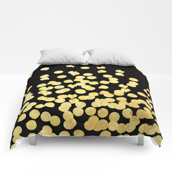 Cruz - Gold Foil Dots on Black - Scattered gold dots, polka dots, dots by Charlotte Winter Comforters