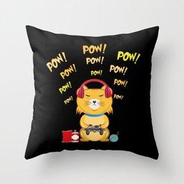 Gamer Cat Throw Pillow