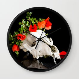 Animal skull with a wreath of wild flower Wall Clock