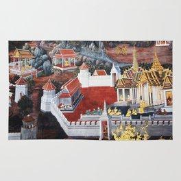 Wall painting from the Grand Palace in Bangkok, Thailand Rug