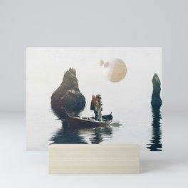 Searching Land    surrealism, scifi, collage Mini Art Print