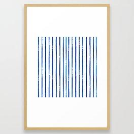 Indigo Stripes - Blue and White Framed Art Print