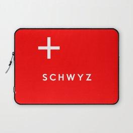 Schwyz region switzerland country flag name text swiss Laptop Sleeve