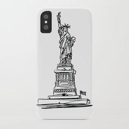 Statue of Liberty black and white minimalist sketch illustration. New York Destination Art iPhone Case