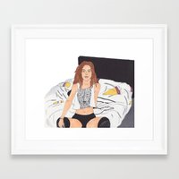 badwood Framed Art Prints featuring Vibin' on her own by Reza Zabardast