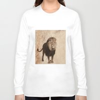 decal Long Sleeve T-shirts featuring Lion by haroulita
