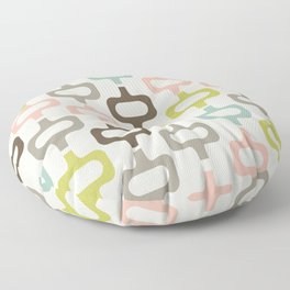 Mid century style colorful shapes seamless pattern Floor Pillow