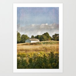 White Barn in Early Autumn Meadow Art Print