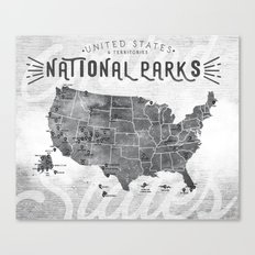 National Parks Map Canvas Print