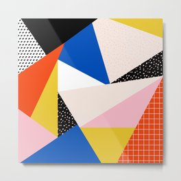 80s Retro Geometric Pattern 3 Metal Print