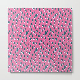 Pink Flintstone // Pattern, Abstract, Organic, Teal, Pink, Bubblegum Metal Print