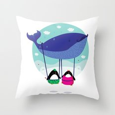 Whale ride Throw Pillow