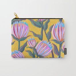 Bold Protea Flower Pattern - Pink Blue Green Purple Yellow Carry-All Pouch