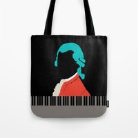 mozart Tote Bags featuring Mozart  by Prelude Posters