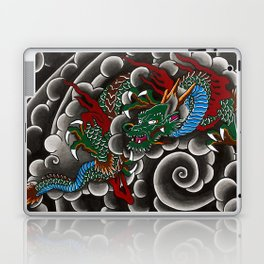 Japanese tattoo style dragon in sumi ink wash and watercolor Laptop & iPad Skin