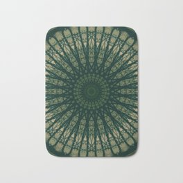 Green tones stain glass mandala Bath Mat