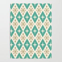 Mid Century Modern Atomic Triangle Pattern 105 Poster