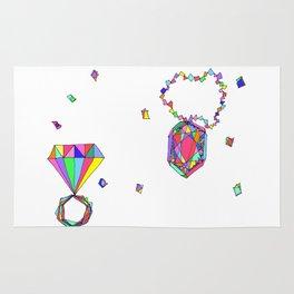 Shine Colorfully diamonds jewelry illustration fashion gem colorful accessory princess girly Rug