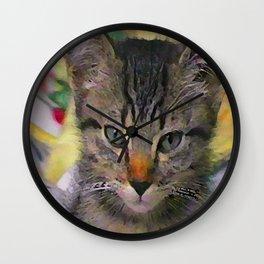 Swoozle's Tabby Kitten After Nap Wall Clock