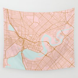 Pink and gold Perth map, Australia Wall Tapestry