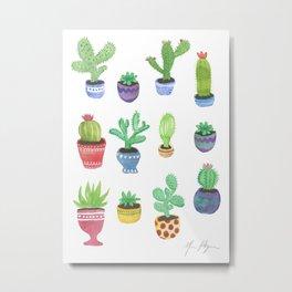 Watercolor Cactus + Succulents Metal Print