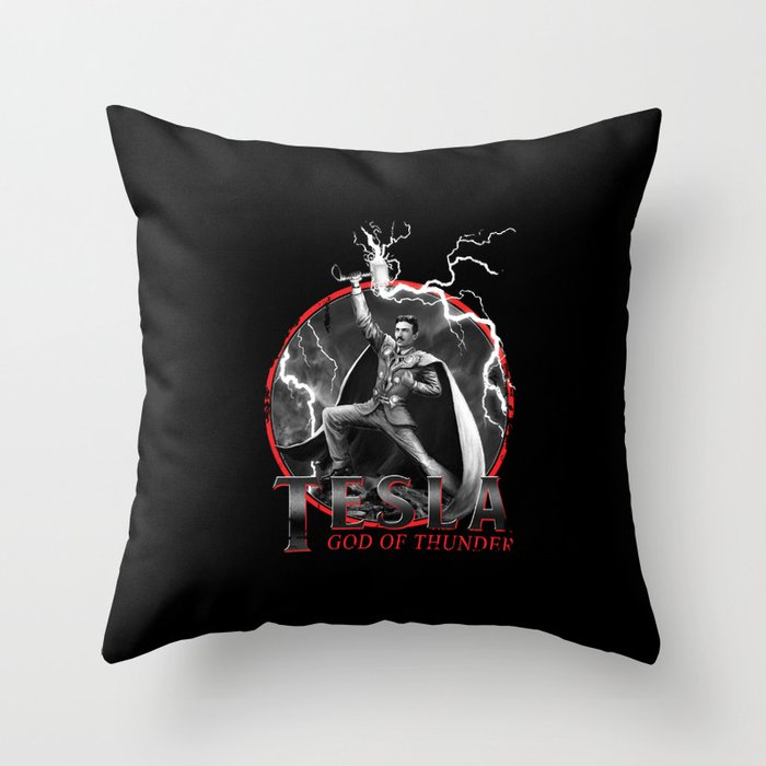 Tesla: God of Thunder Throw Pillow