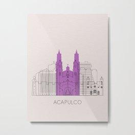 Acapulco Landmarks Poster Metal Print