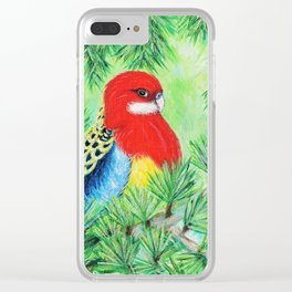 Rosella Bird Painting Clear iPhone Case
