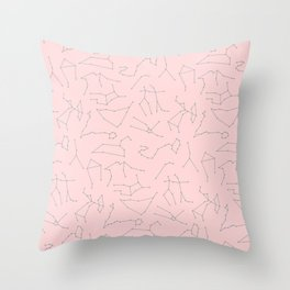 Zodiac Signs | Astrology | Pink and Grey | Constellations | Stars Throw Pillow