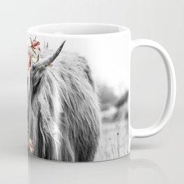 Highland Cow Portrait with Flowers Coffee Mug