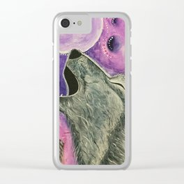 Spirit Wolf - Gold Lotus Oracle Clear iPhone Case