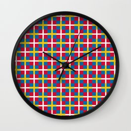 Mix of flag: sweden and denmark Wall Clock