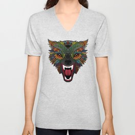 wolf fight flight ochre Unisex V-Neck