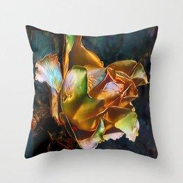 Gold Rose Throw Pillow