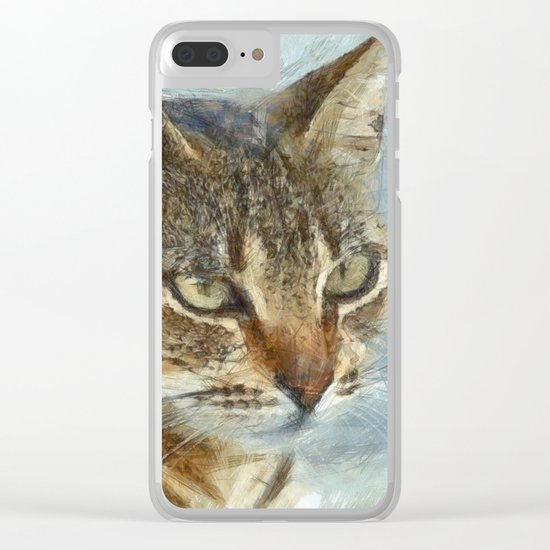 Stunning Tabby Cat Close Up Portrait Clear iPhone Case