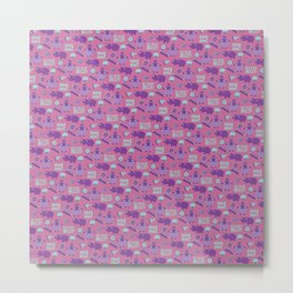 Hungry Hippo Pattern by Holly Shropshire Metal Print