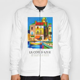 1963 Cote d'Azur French Riviera Vintage World Travel Poster Hoody