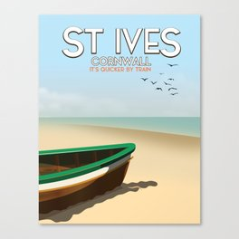St Ives ,Cornwall ,beach travel poster, Canvas Print
